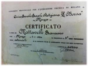 Certificato Vetrinista Francesco Mattavelli